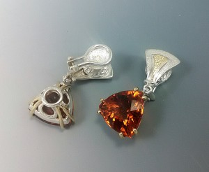 Fallen Leaves, silver, gold, and fine Madeira citrine clip earrings