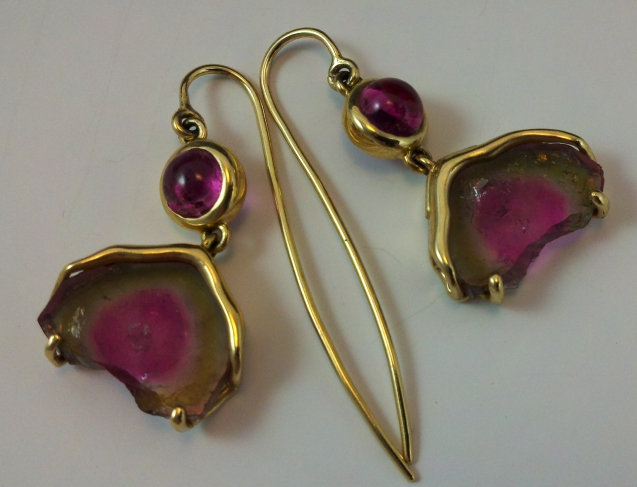 Gorgeous & boho chic, petite watermelon tourmaline slices and vivid pink tourmalines happy in 18kt gold