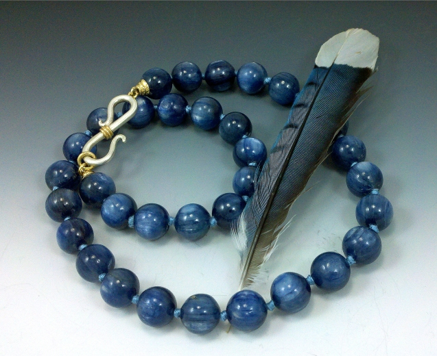 """Kyanite beads (Russia), with handmade silver and 18kt gold """"S"""" hook and bead tips"""