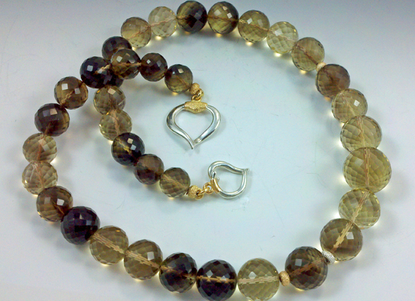 Richly 'toasted', smoky quartz beads with gold and silver warm you up on chilly fall days!