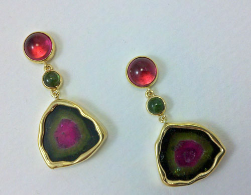 """Yellow Springs"" dangles in 18kt gold with watermelon tourmaline slices, one-of-a-kind, now adorning a new customer, thanks, S.C.!"