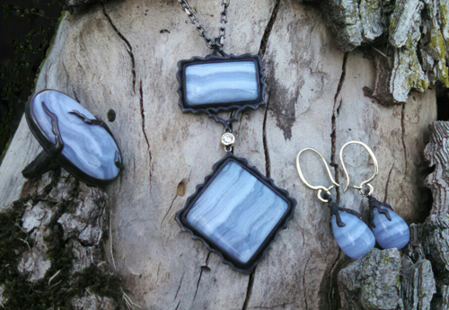 Malvern Skies series, blue lace agate, blackened silver, gold, and diamond