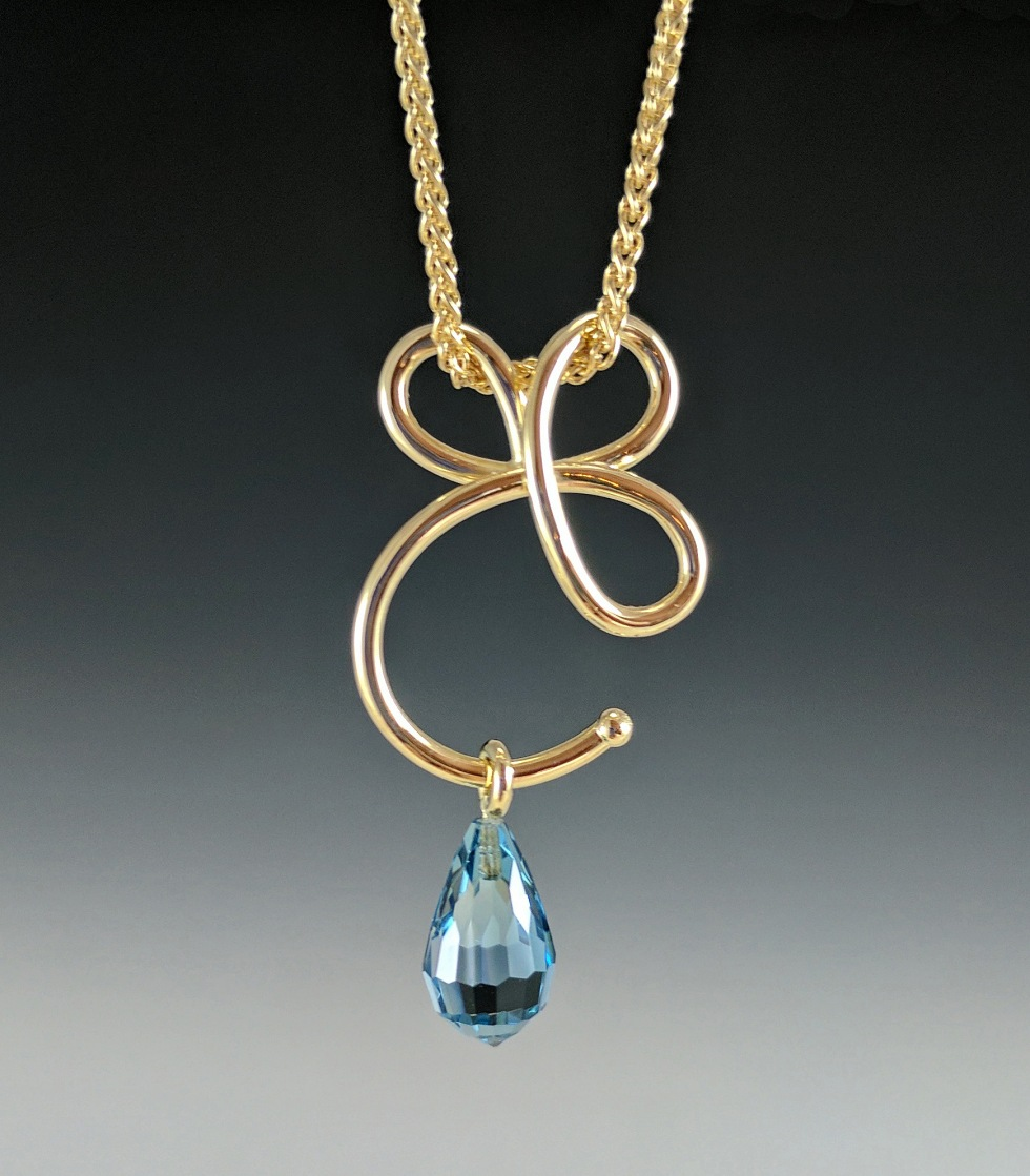 Cs light custom gold pendant with london blue topaz briolette share this mozeypictures Image collections